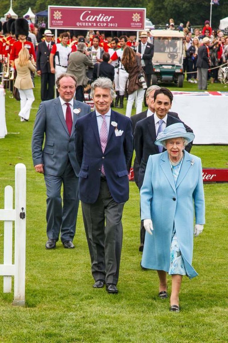 Queen at Cartier Polo arriving
