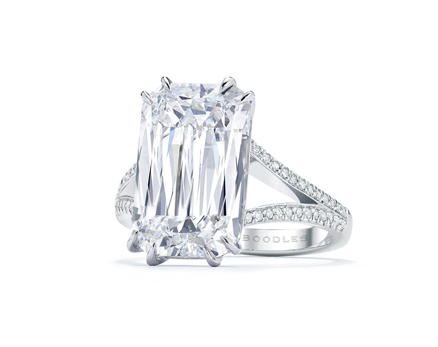 Boodles Ashoka diamond engagement ring.