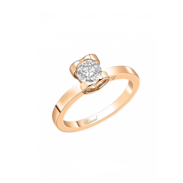 "Chopard ""For Love"" diamond engagement ring in rose gold."