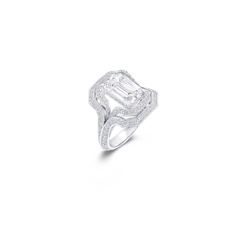 Graff Legacy emerald-cut diamond engagement ring.