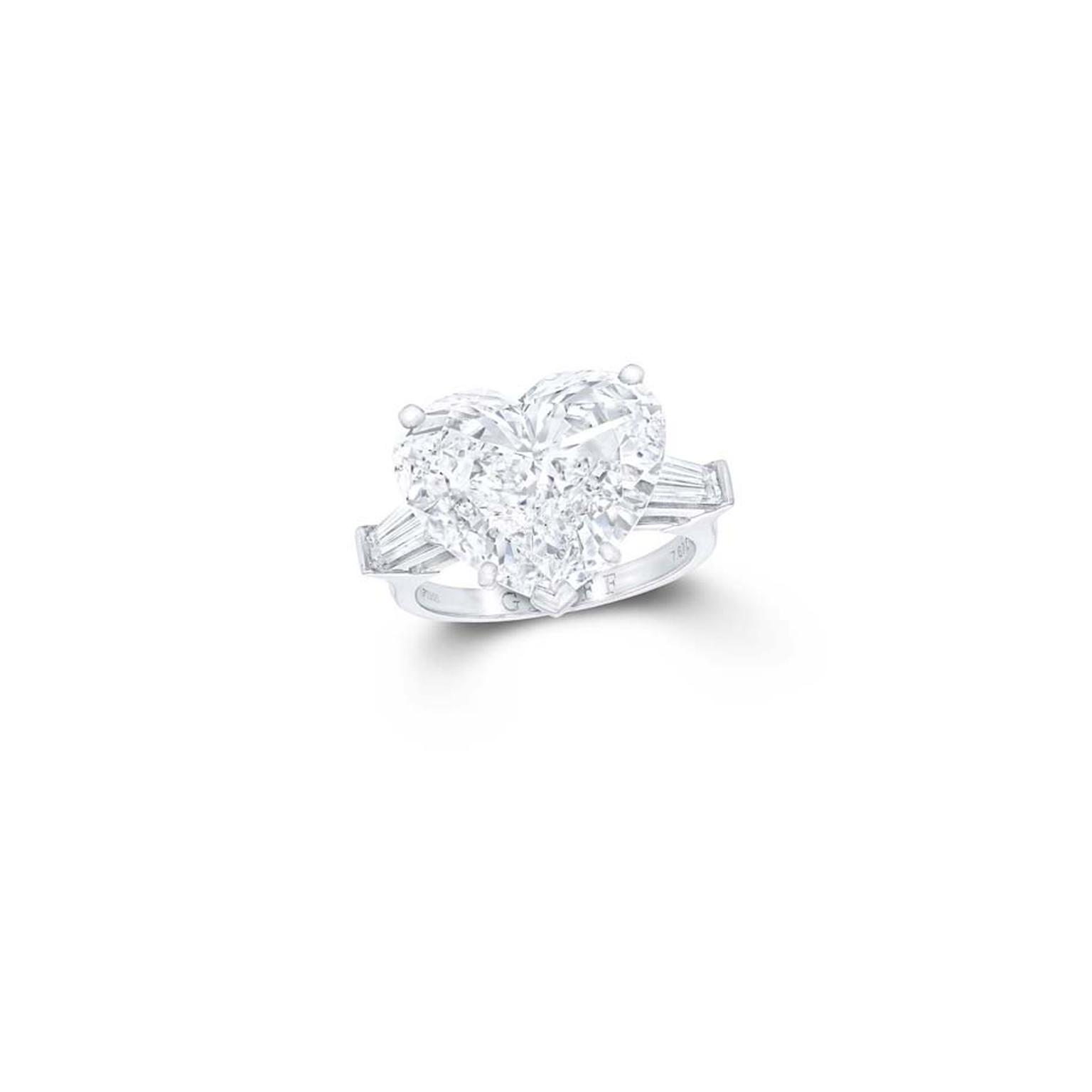 Graff heart-shape diamond engagement ring with tapered baguette diamond shoulders.