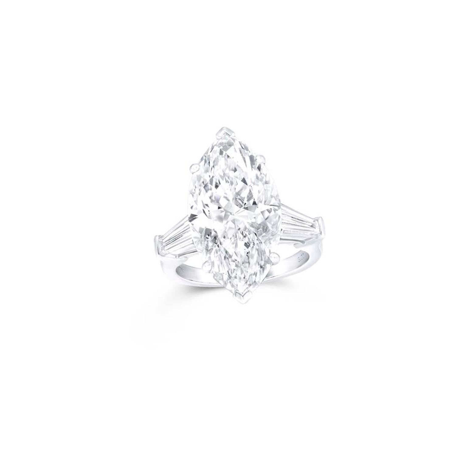 Graff jewellery marquise-cut promise diamond engagement ring.