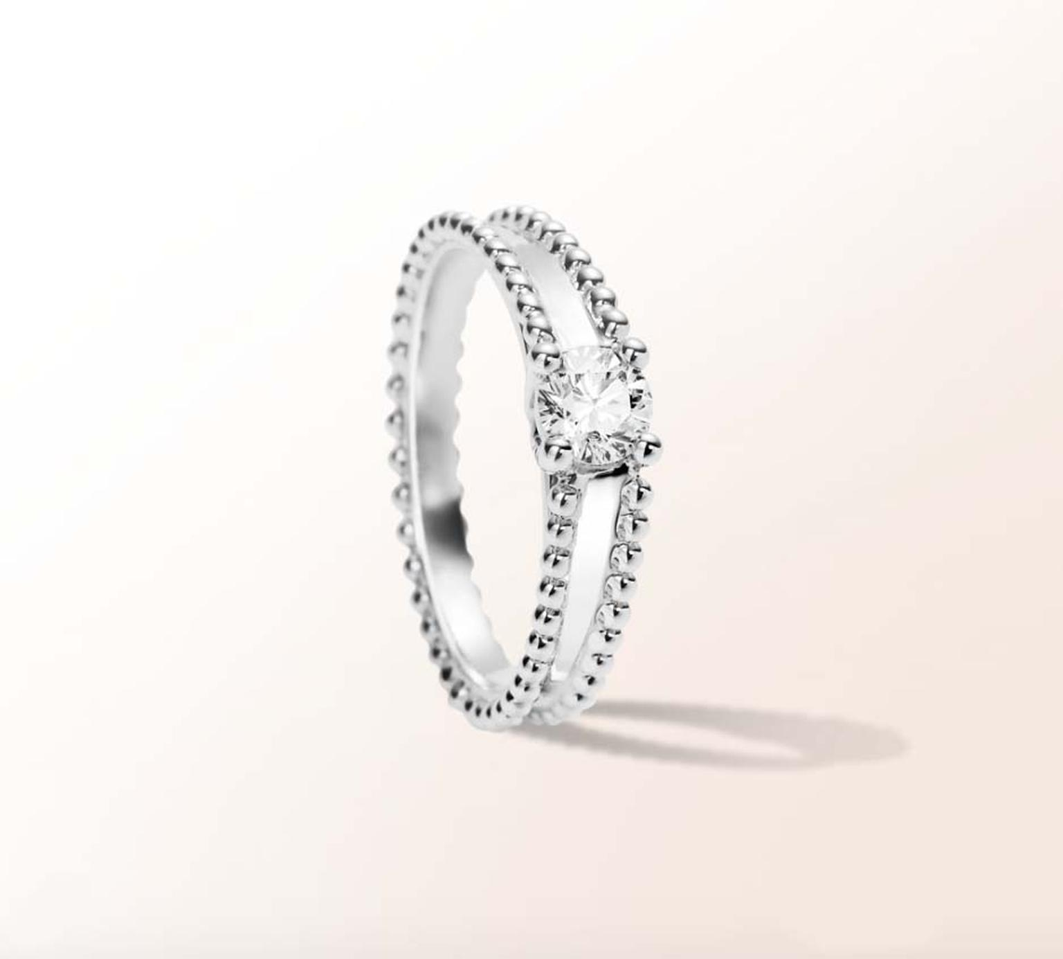 Van Cleef & Arpels jewellery Estelle diamond engagement ring with beaded platinum setting.