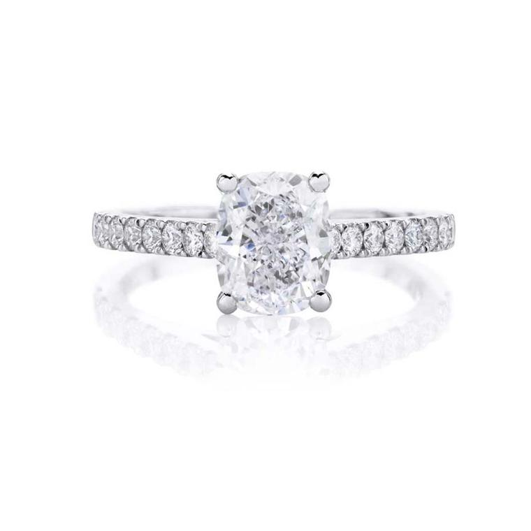De Beers Classic diamond engagement ring.