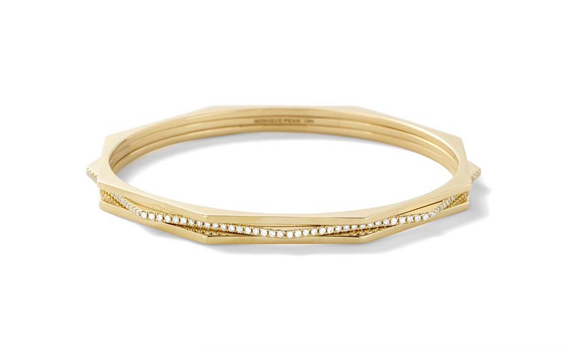 Hachi octagonal Monique Péan bangle with white diamond pavé, set in recycled yellow gold.