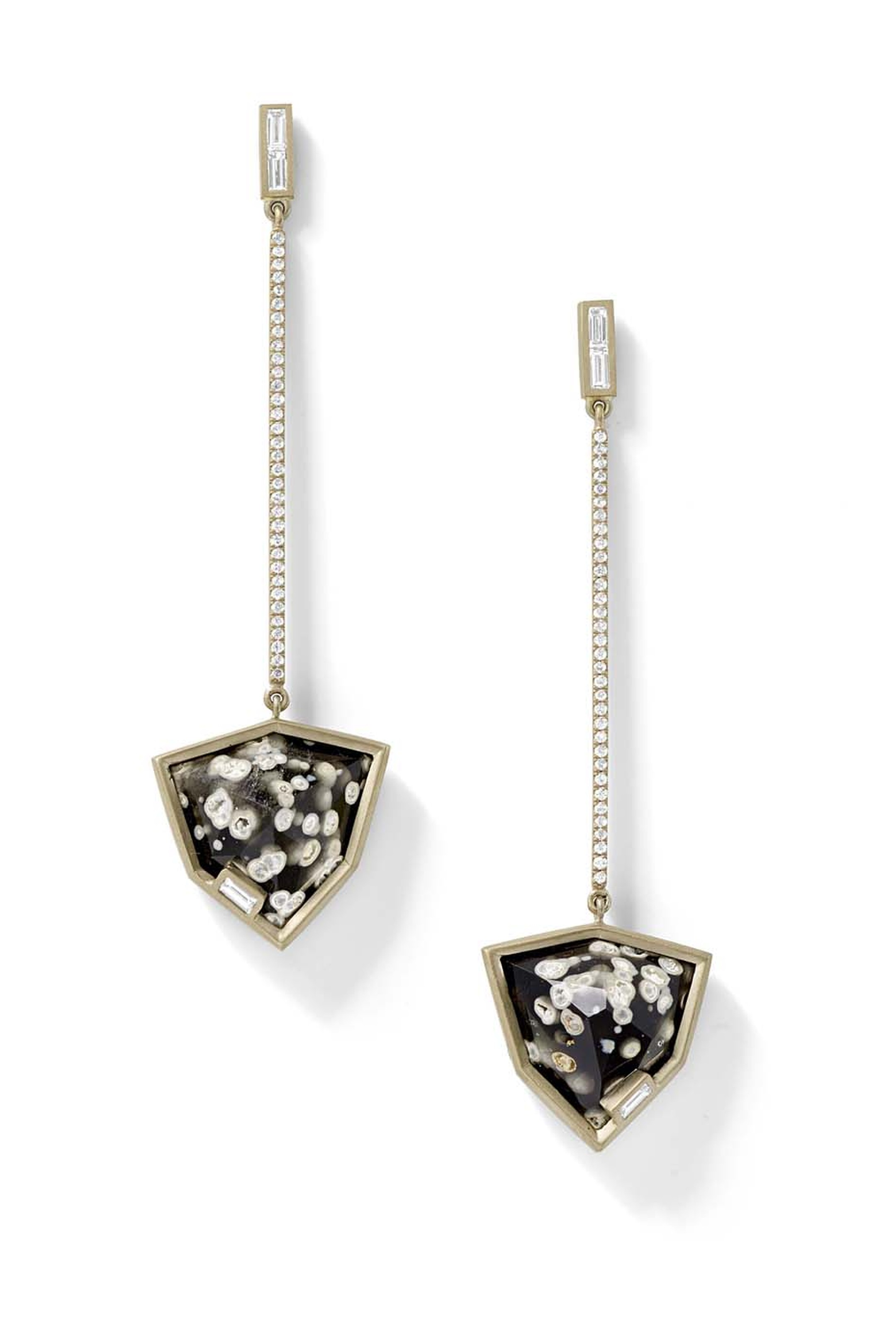 Obsidian shield earrings with white diamond baguettes and white diamond pavé, set in recycled white gold from Monique Péan.