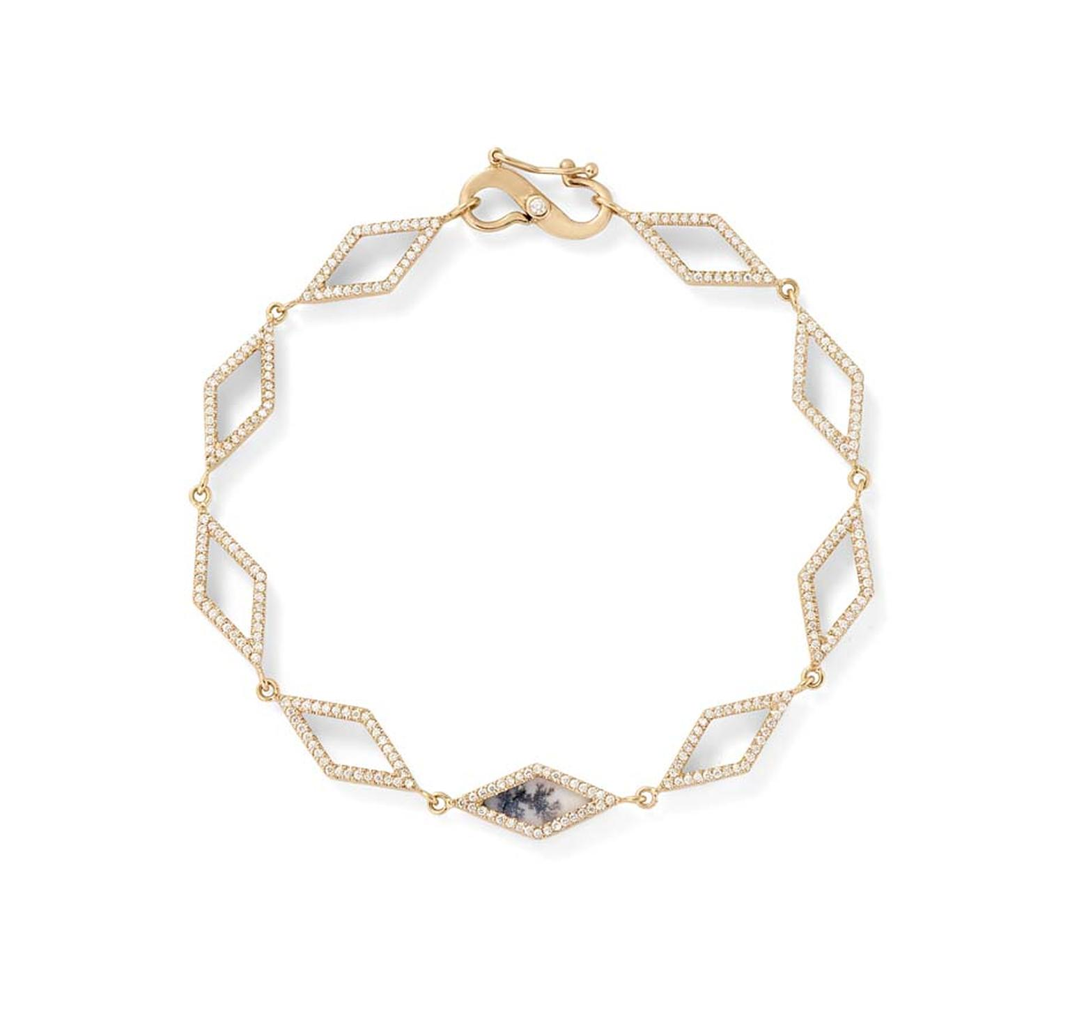 Monique Péan dendritic agate geometric open link bracelet with white diamond pavé, set in recycled rose gold.