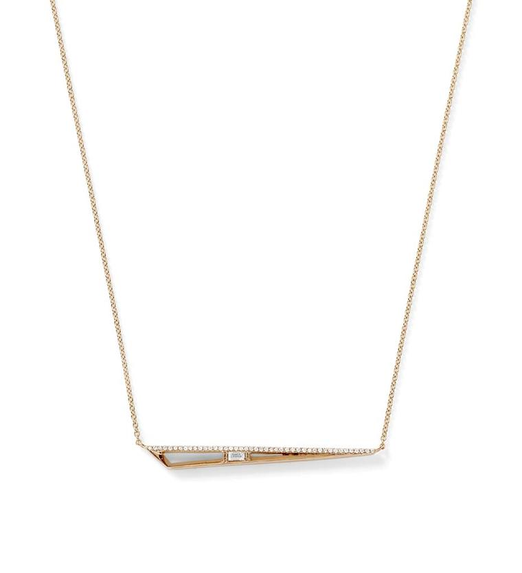 "Simple but elegant 17"" spear Monique Péan necklace with a white diamond baguette and white diamond pavé, set in recycled rose gold from the new Koyo collection."