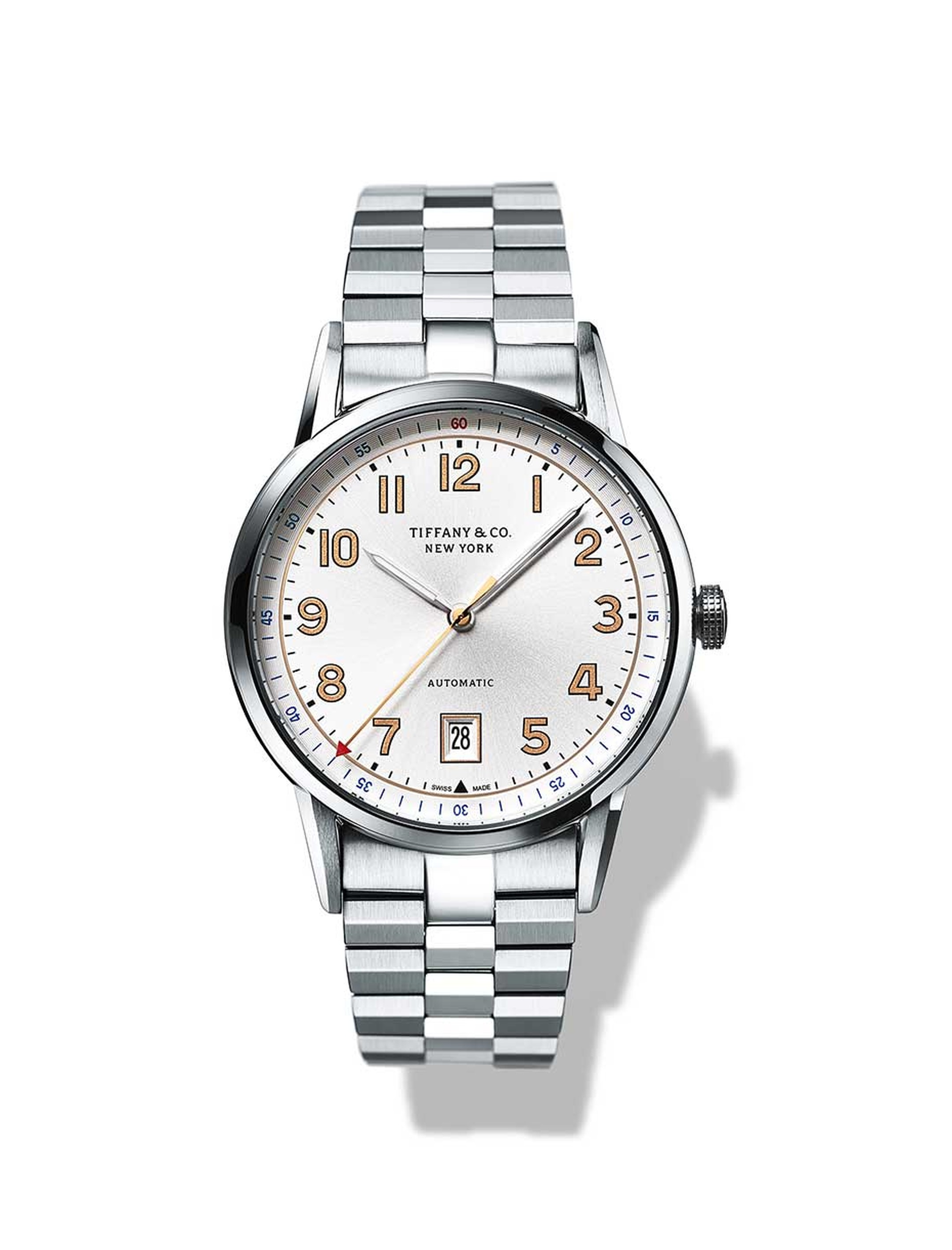 Tiffany and Co. CT60 3-Hand watch with a 40mm stainless steel case, white sunray dial and date window at 6 o'clock.