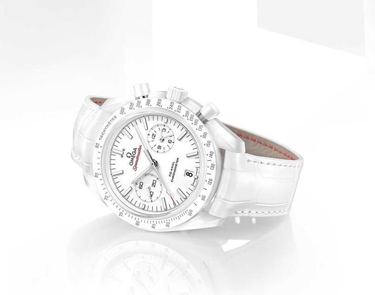 The new bright white Omega Speedmaster White Side of the Moon watch with a 44.25mm white ceramic case, presented at Baselworld 2015.