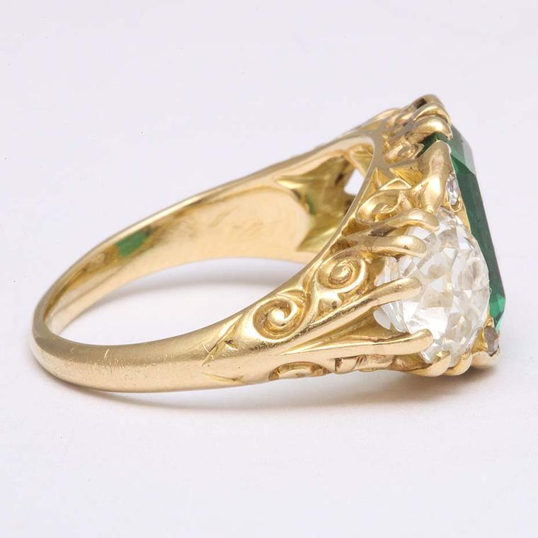 A side view of A La Vieille Russie's Victorian engagement ring in gold, which dates from around 1890.