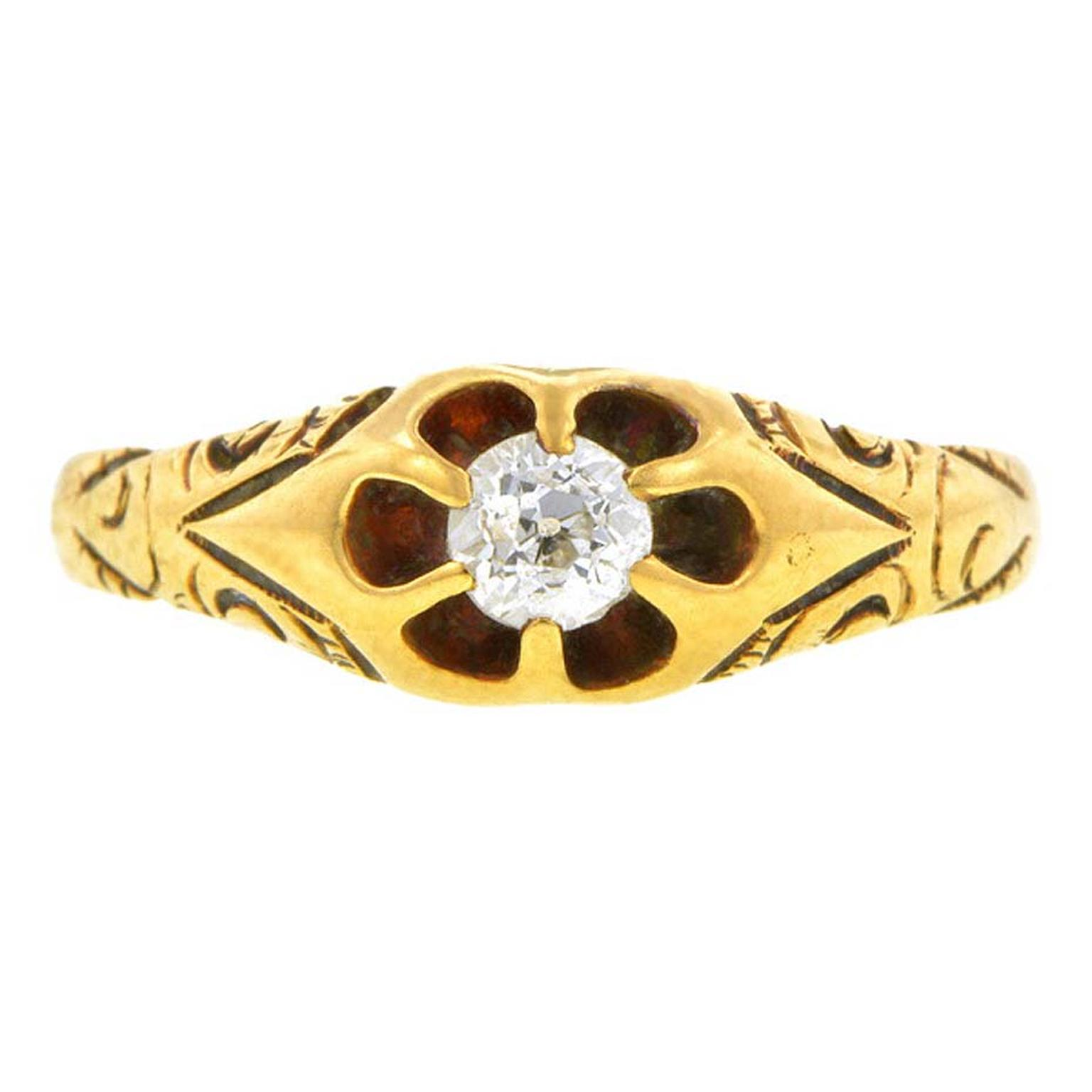 Old European-cut gold and diamond late Victorian engagement ring, which dates from around 1900. Available from Doyle & Doyle in New York.