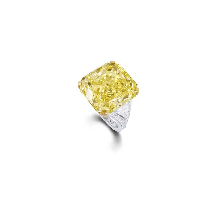 Graff 36.23ct fancy intense emerald cut yellow diamond ring