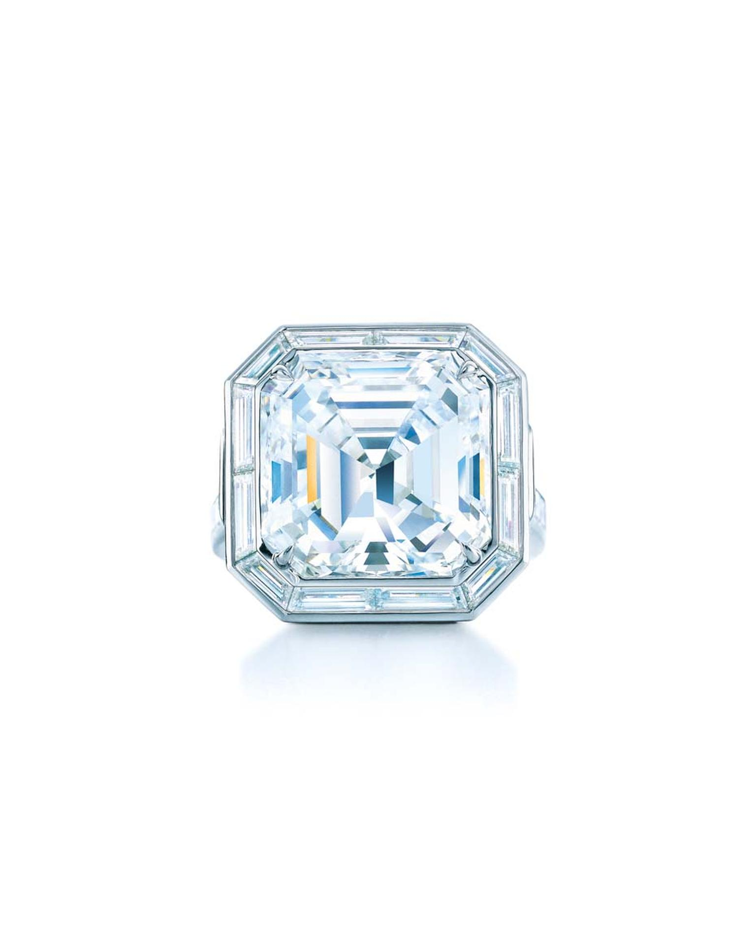 Tiffany & Co. emerald cut diamond engagement ring from their Blue Book collection.