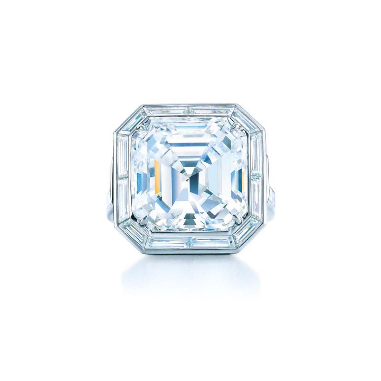 Tiffany & Co. emerald-cut diamond engagement ring from the 2014 Blue Book collection.