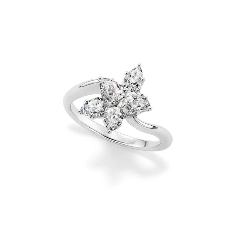 Harry Winston Lily cluster diamond engagement ring.