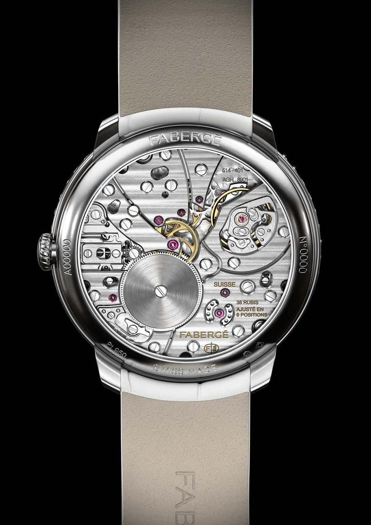 Both timepieces in Fabergé's new Lady Compliquée collection feature specially designed movements by Jean-Marc Wiederrecht of Agenhor. The 38mm platinum case houses the extremely complex hand-wound movement, which gives life to the retrograde minutes, the