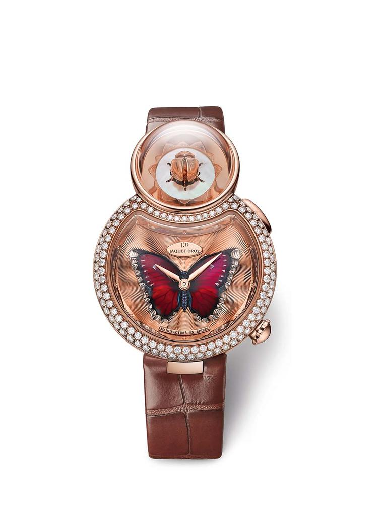 Jaquet Droz has adopted the iconic figure eight framework of its Lady 8 watch and nestled a gorgeous lotus flower in the upper circle. In the lower, larger circle, a red-winged butterfly crafted from translucent enamel on a gold guilloché background sprea