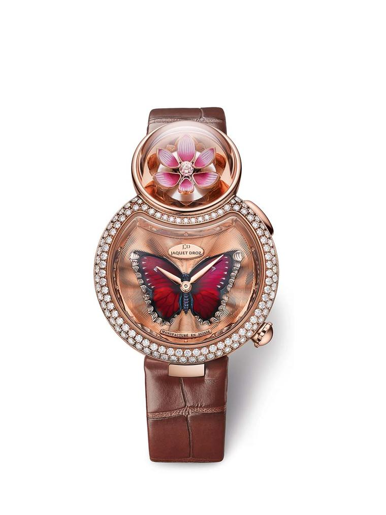 Jaquet Droz Lady 8 Flower watch features an in-built automaton device. By activating the pusher on the side of the case, the lotus flower magically opens its petals.