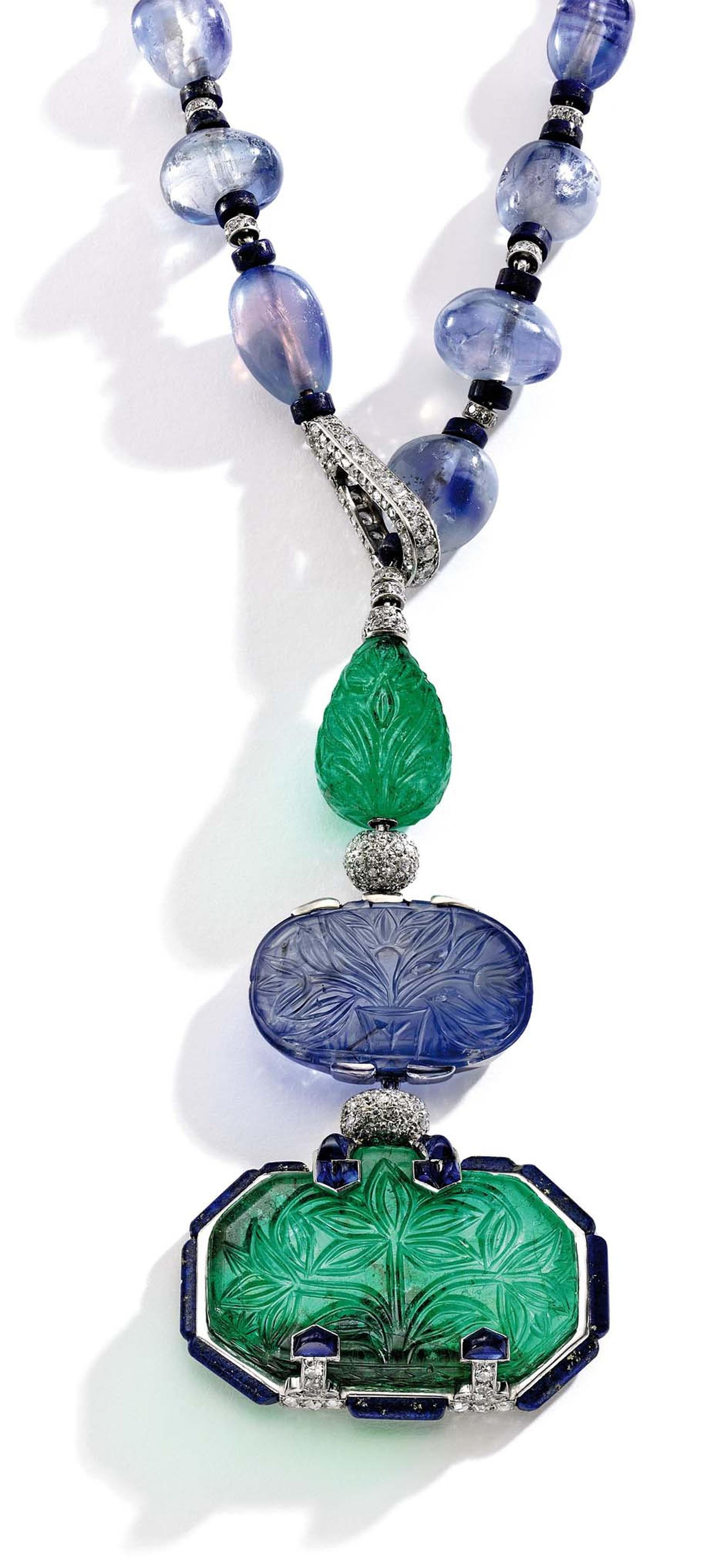 This platinum, emerald, sapphire, lapis lazuli and diamond Cartier necklace, designed by Charles Jacqueau circa 1924, used to belong to the wife of Baron Eugene de Rothschild. It sold to an online bidder for $2.6 million.