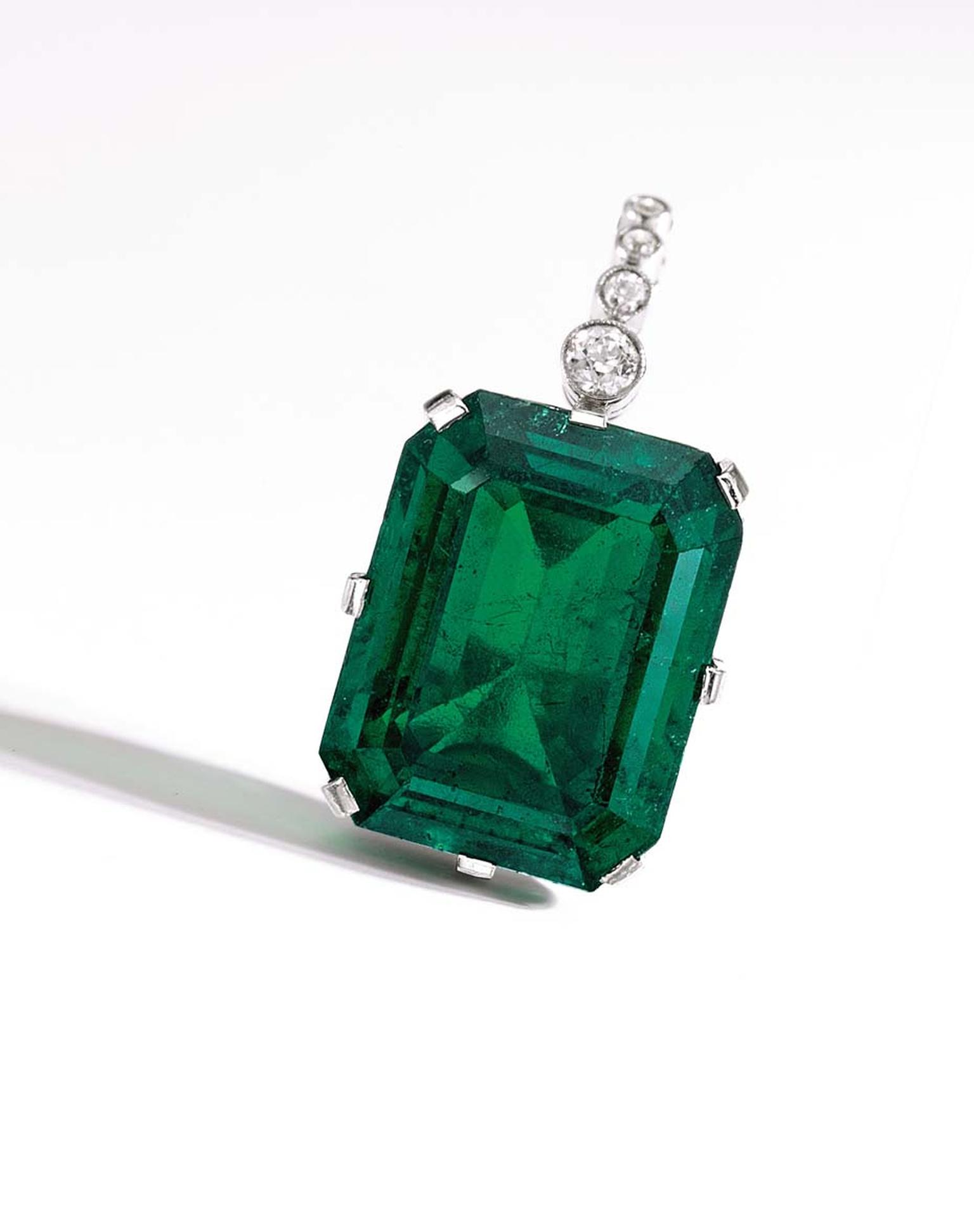 An important platinum, diamond and Colombian emerald pendant. The 35.02ct emerald belonged to the wife of Henry Flagler, American industrialist and pioneering developer of Florida's eastern coastline, and sold for $2.8 million.