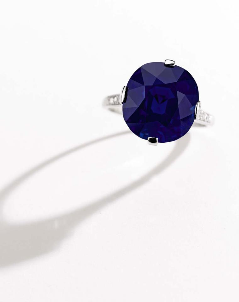 Cartier Kashmir sapphire and diamond ring in platinum, circa 1915, set with a finely proportioned cut 11.90ct sapphire, sold to an online bidder for $1.9 million.