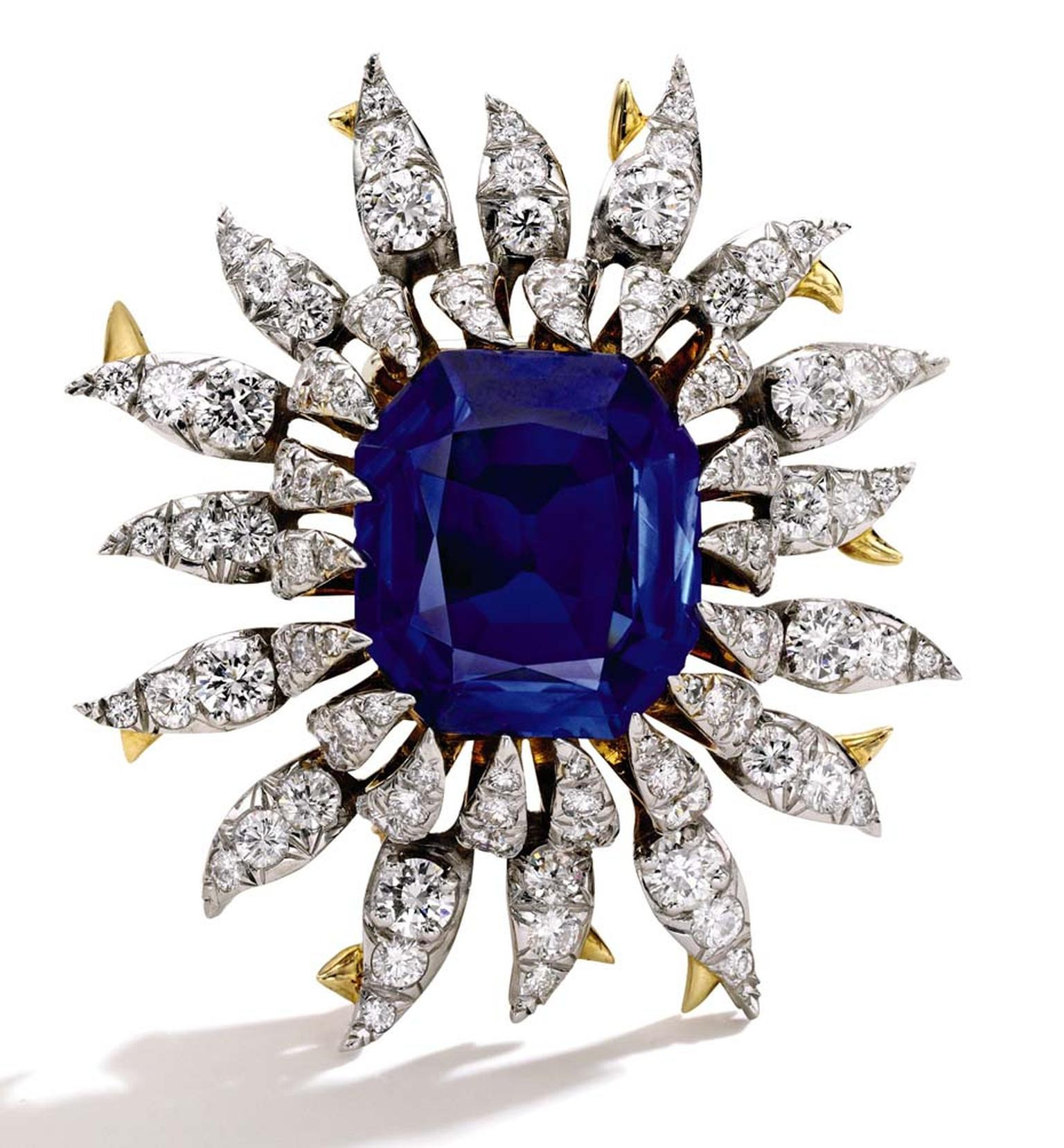 Tiffany & Co. diamond and Kashmir sapphire brooch in gold and platinum, designed by Jean Schlumberger and dating back to the 1960s. Part of the late Bunny Mellon's private collection and set with a 17ct sapphire, it sold to an online bidder for $1 million