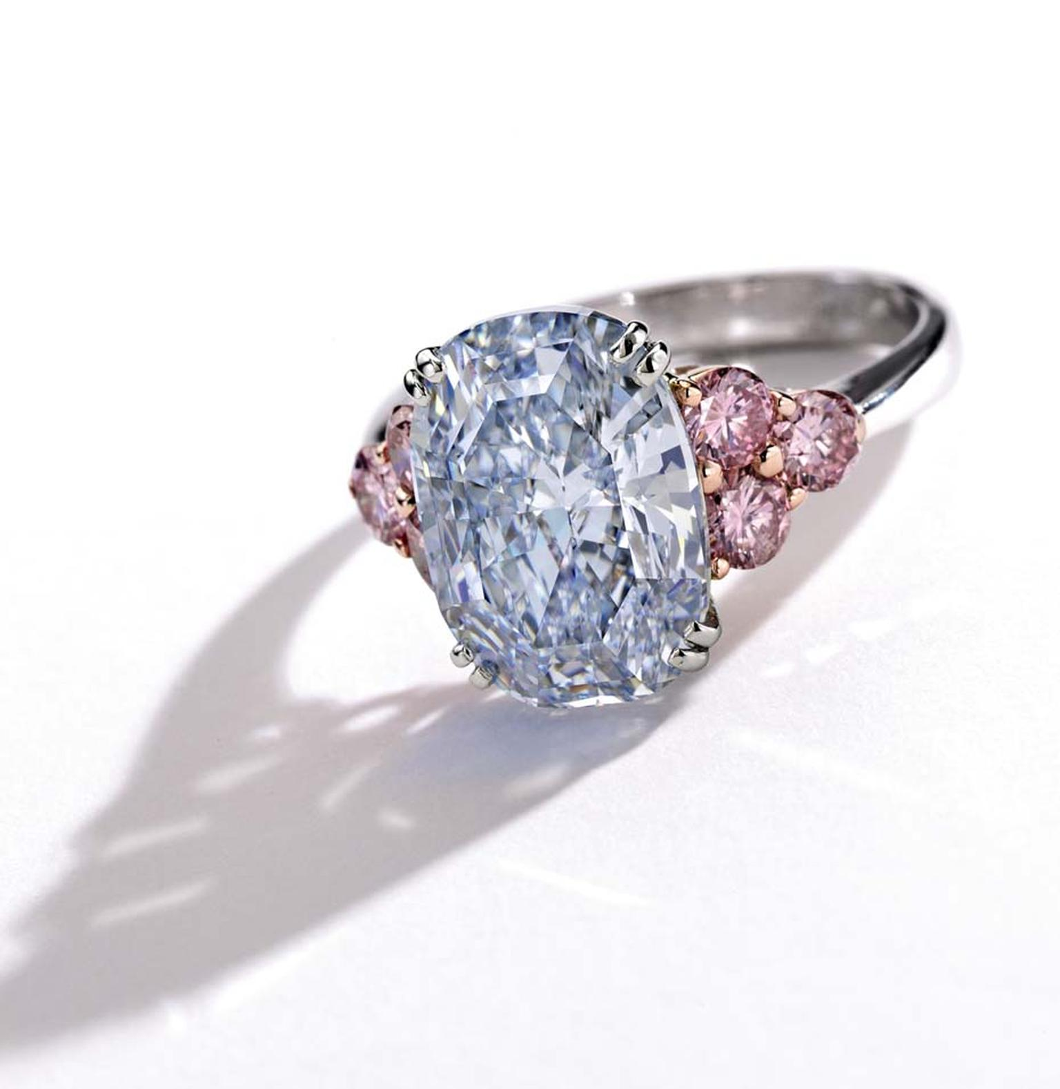 The Monarch Blue diamond ring, set in platinum and rose gold with an oval-shaped Fancy blue mixed-cut 6.06ct diamond, complemented by six pink-hued round diamonds, has an estimate of $3.5-4.5 million.