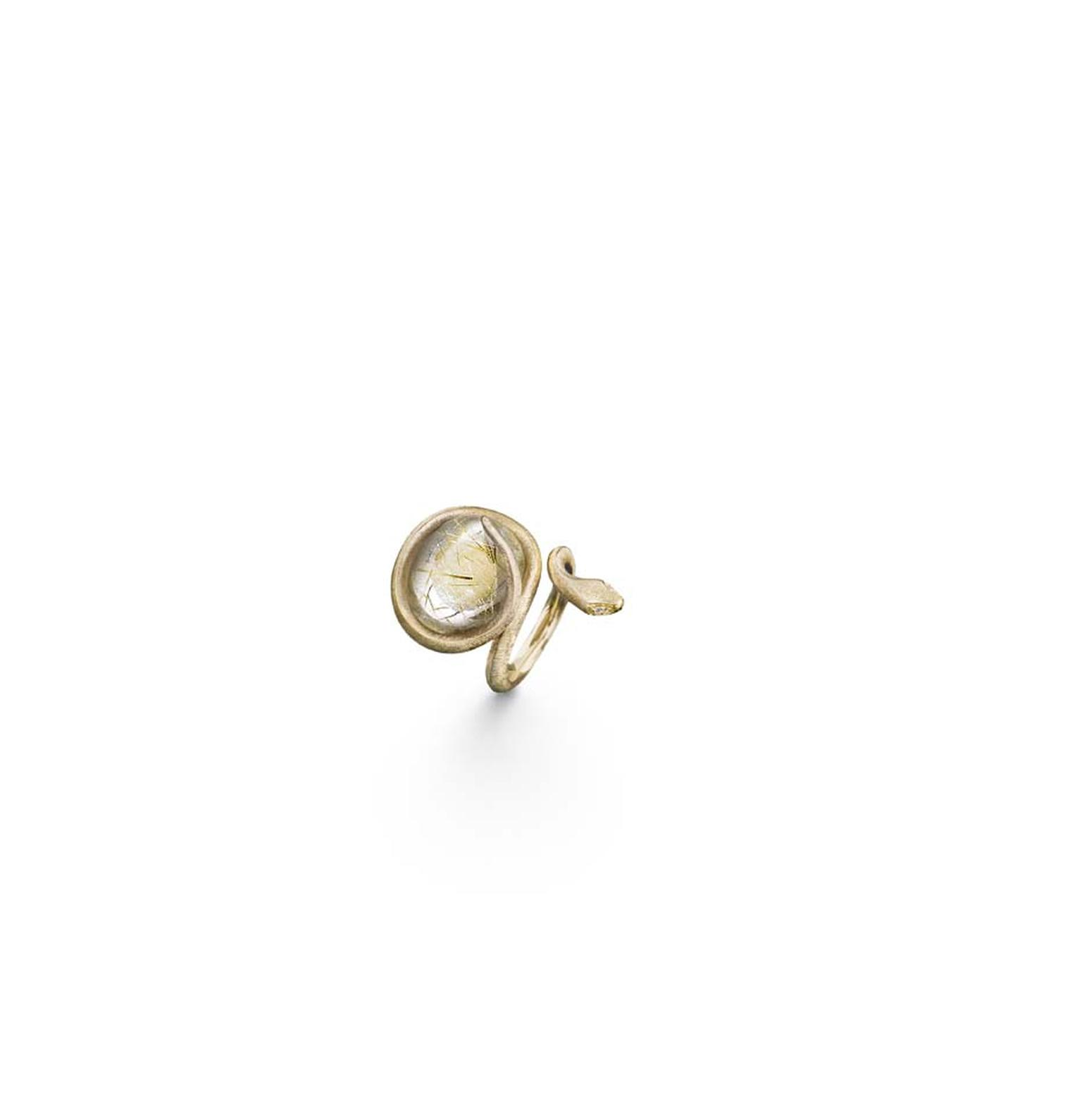 Ole Lynggaard 18ct yellow gold ring with rutiile quartz stone and 4 diamonds.
