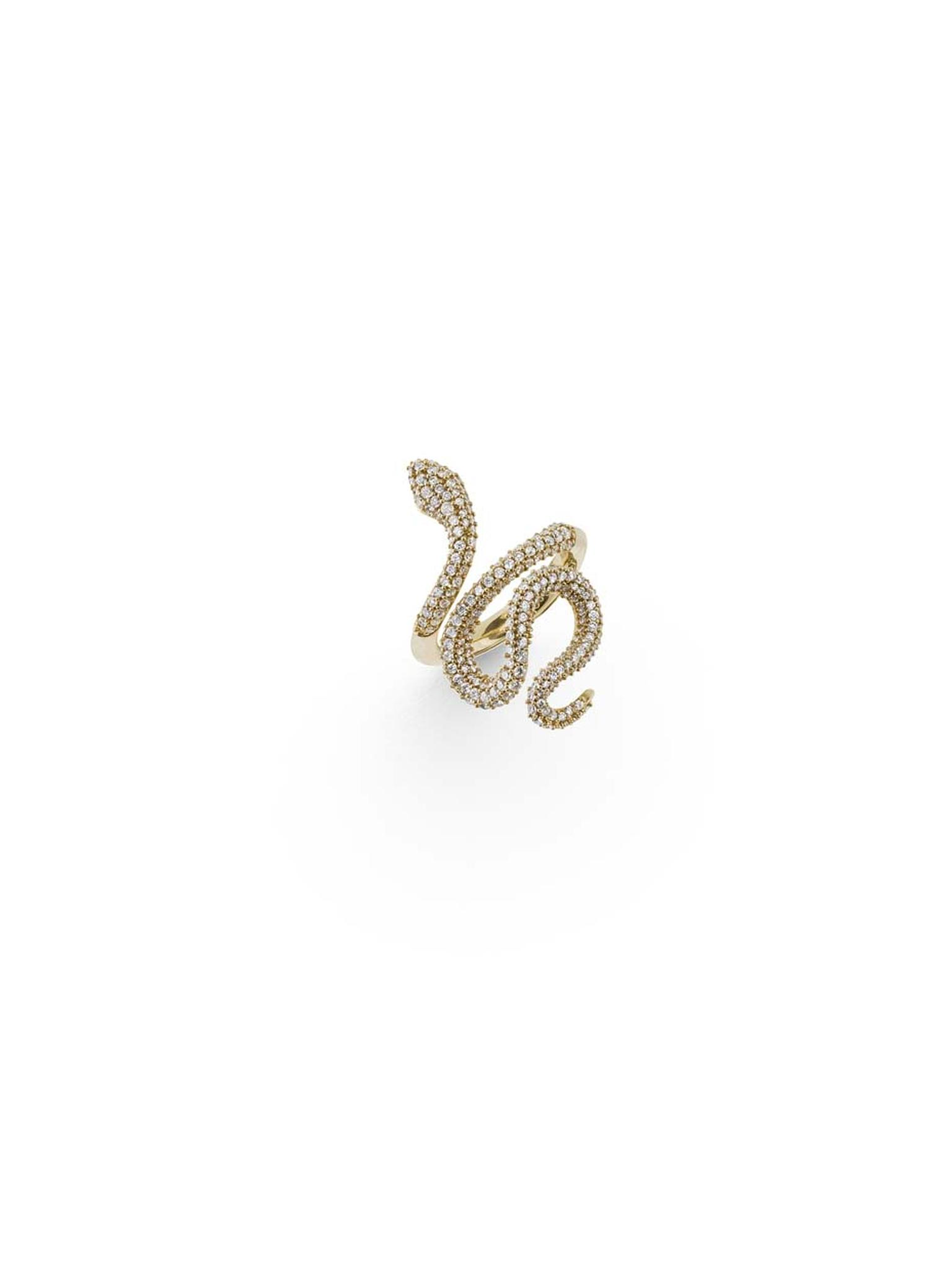Ole Lynggaard snakes ring in 18ct yellow gold with pave diamonds.