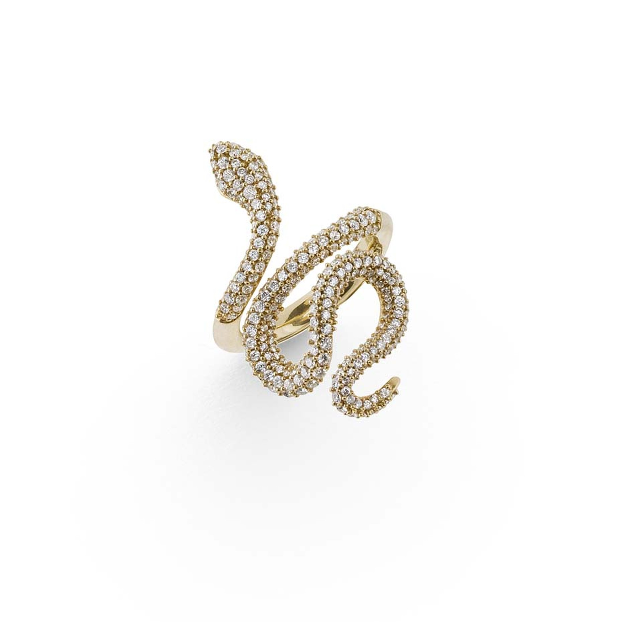 Ole Lynggaard high jewellery snake ring in 18ct yellow gold with pavé diamonds.