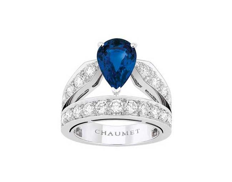 Chaumet Joséphine diamond and sapphire engagement ring.