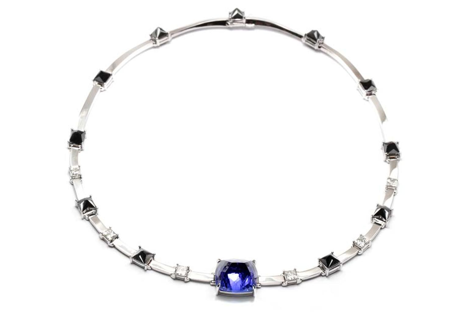 Ara Vartanian inverted tanzanite necklace in white gold with black and white diamonds.