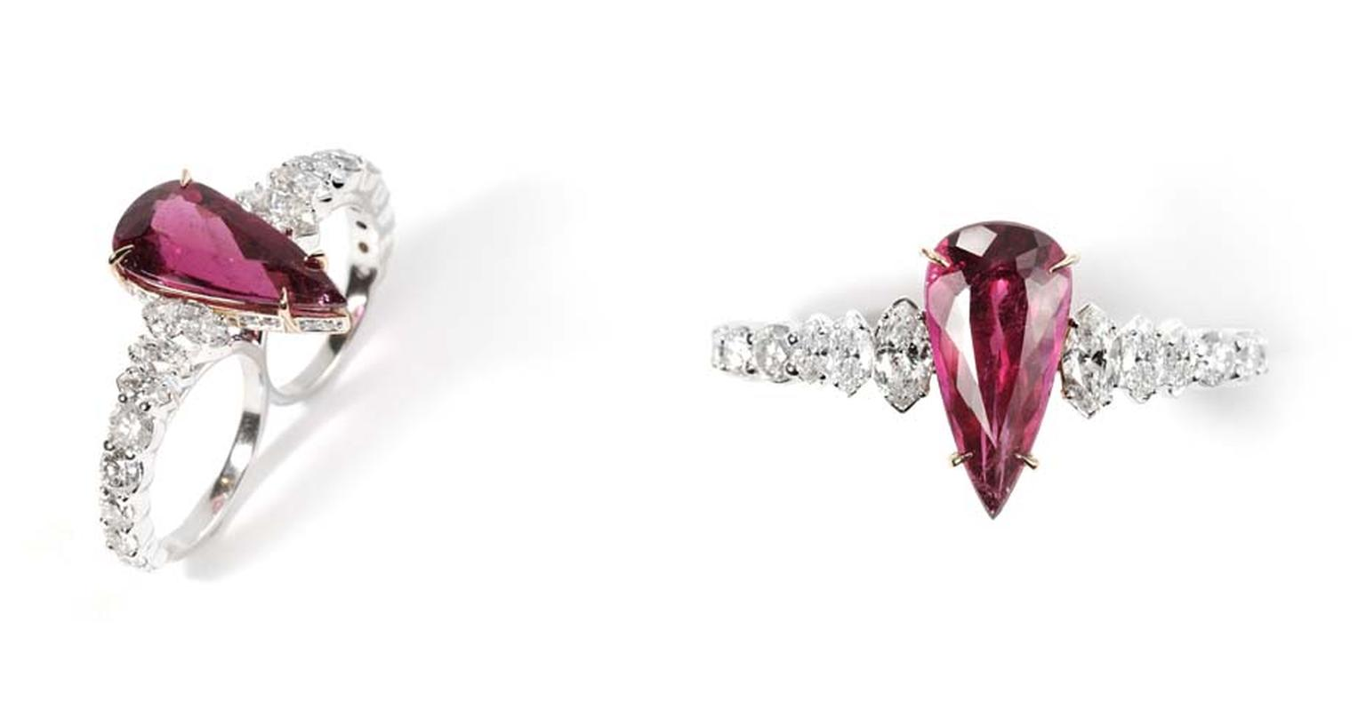 Ara Vartanian two-finger diamond and pear-shaped rubellite ring in white gold.