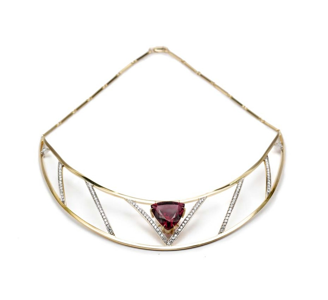 Ara Vartanian fine jewellery rubellite necklace in yellow gold with white diamonds.