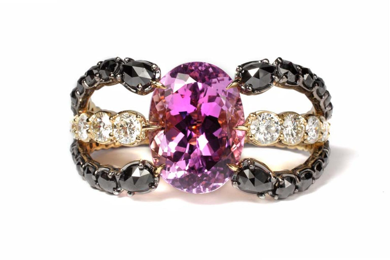 "Ara Vartanian ""Octopus"" kunzite ring in yellow gold with black and white diamonds."