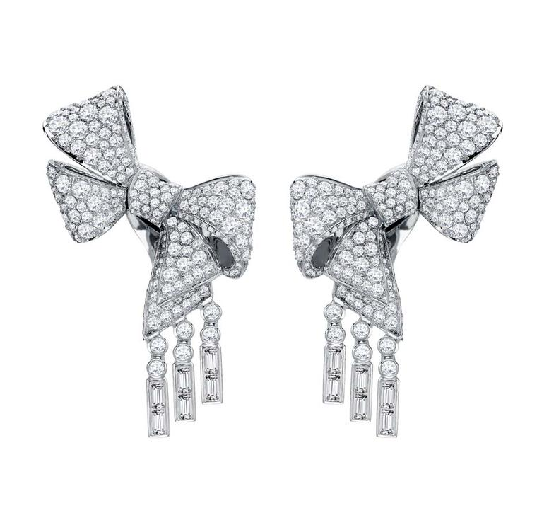 Garrard white gold ear climbers set with round and baguette cut diamonds, from the new Bow Collection.
