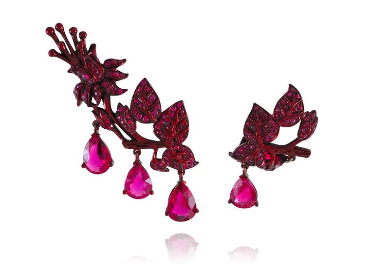 Lydia Courteille mismatched ear climbers adorned with rubies and tourmalines from the new Scarlett Empress collection.