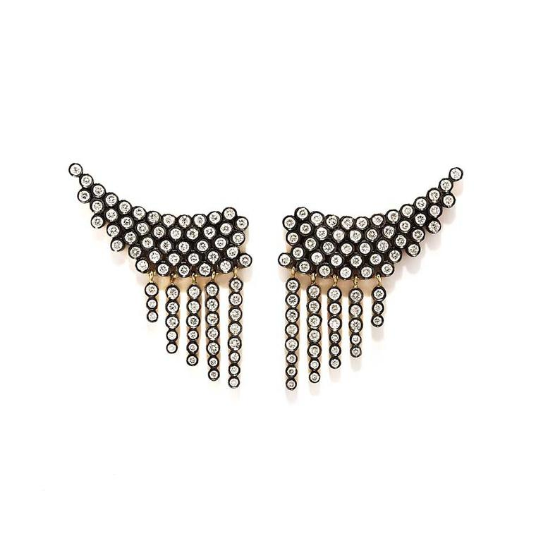 Yannis Sergakis yellow and black gold ear climbers with diamonds.
