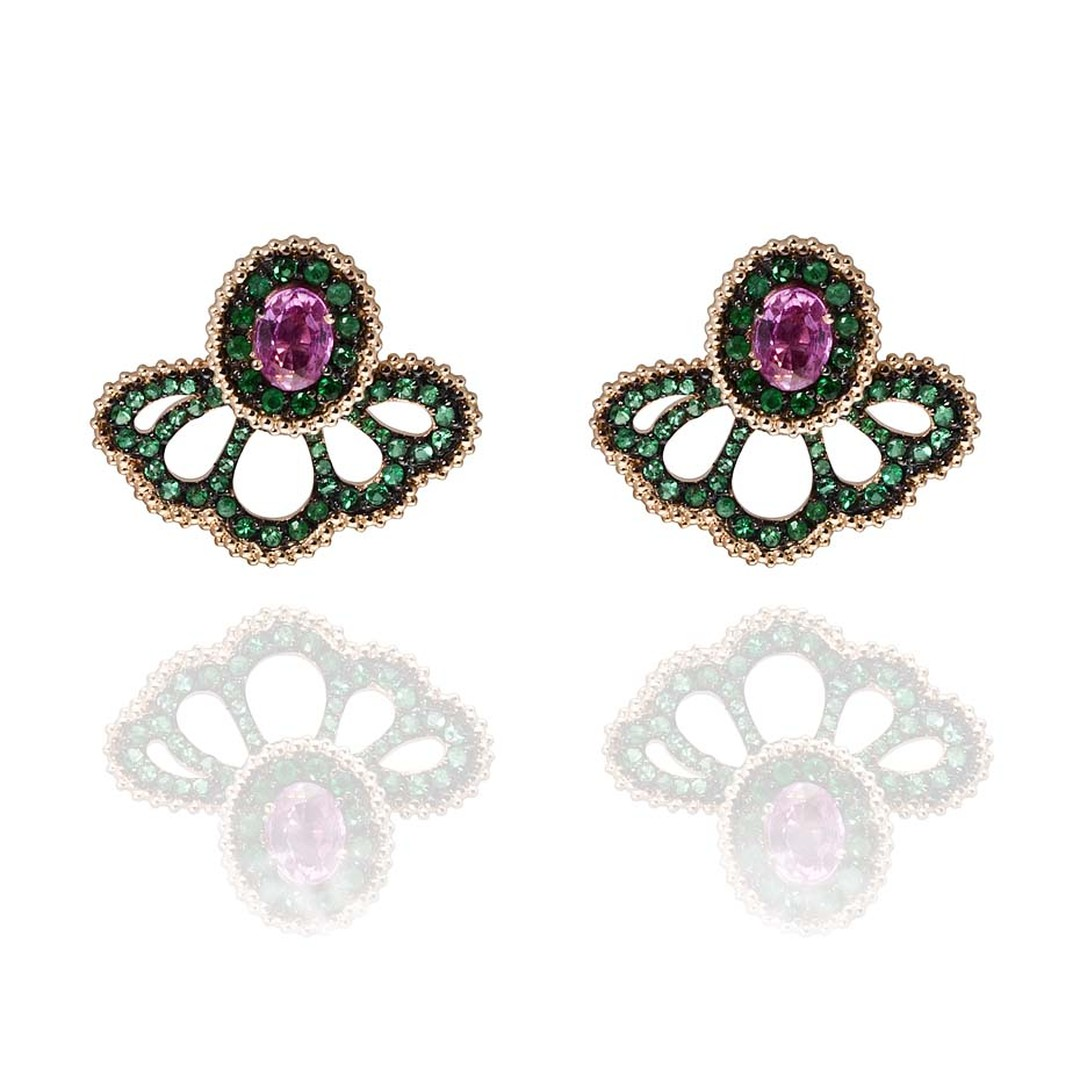 Carla Amorim ear jackets in rose gold with emeralds and rose tourmalines.