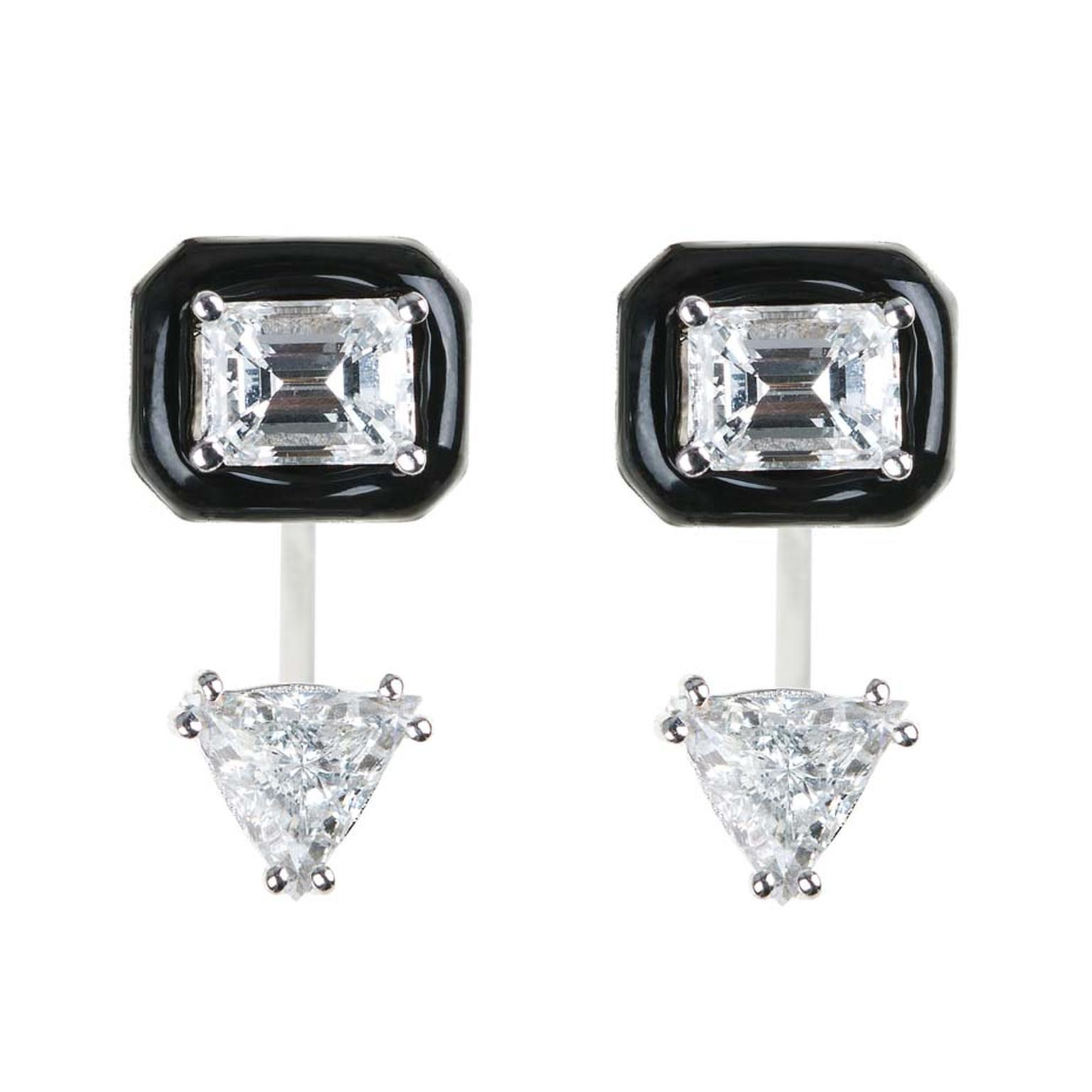 Nikos Koulis earrings featuring an emerald-cut diamond surrounded by black enamel with triangle-cut drop diamonds.