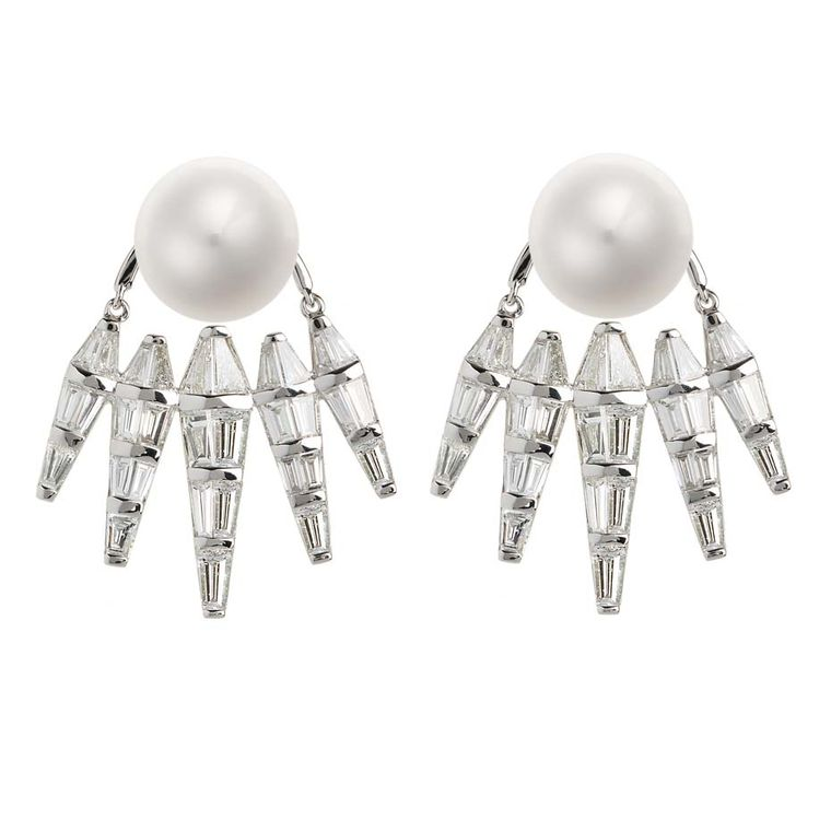 Nikos Koulis ear jackets in white gold with white pearls and baguette diamonds, from the Spectrum collection.