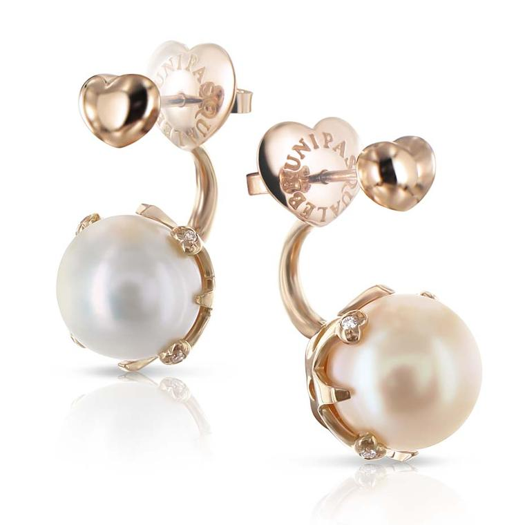 Pasquale Bruni Sissi Lunaire ear jackets in rose gold with one white and one champagne-coloured pearl.