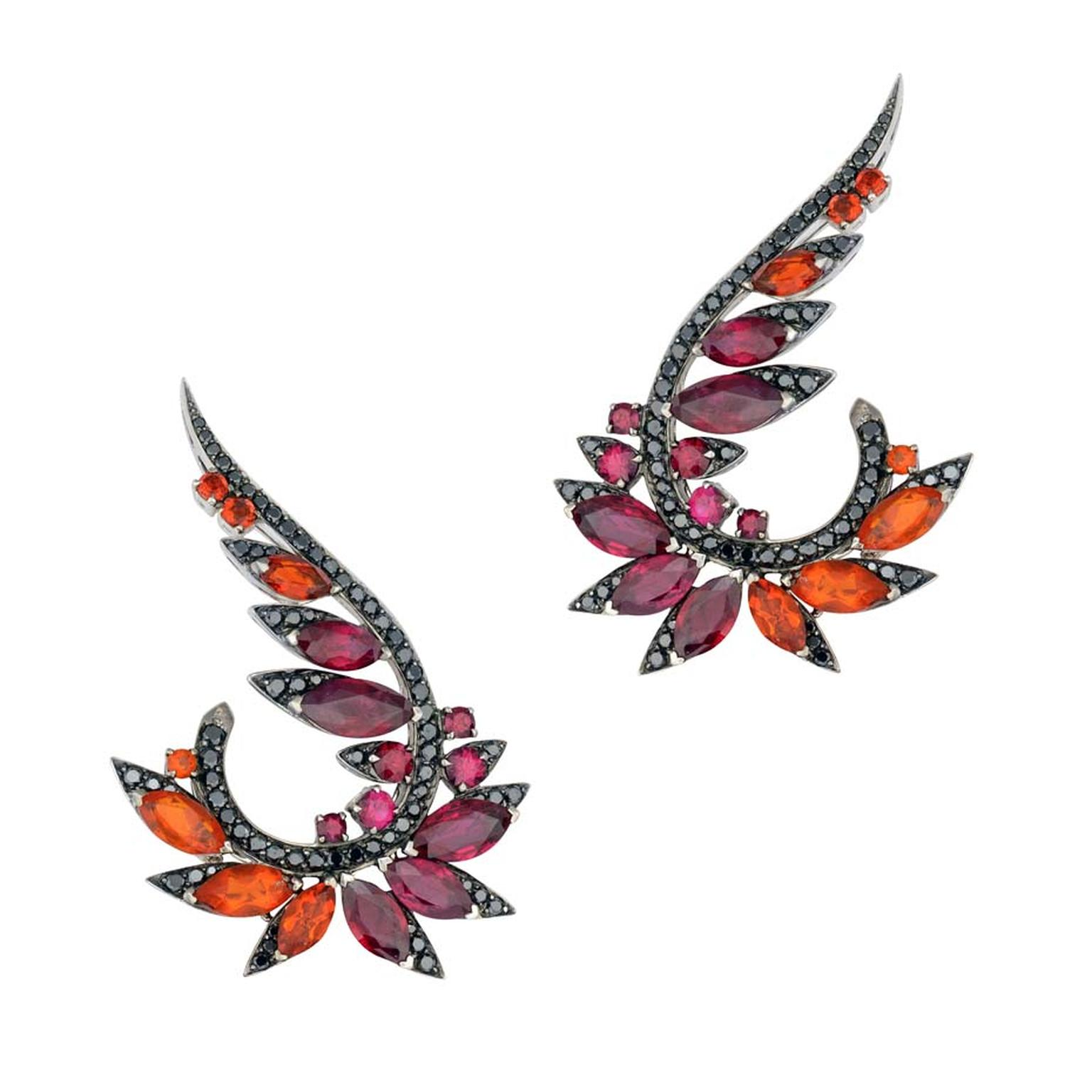 Stephen Webster's Magnipheasant plumage earrings in 18ct white gold, featuring marquise cut rubies, fire opals and black diamond pavé.