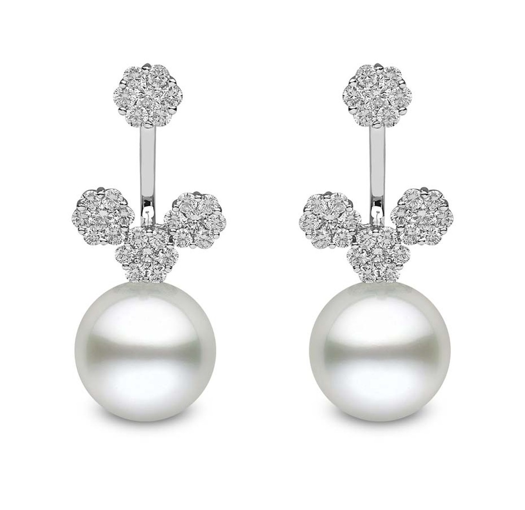 YOKO London front/back earrings with white South Sea pearls and diamonds.