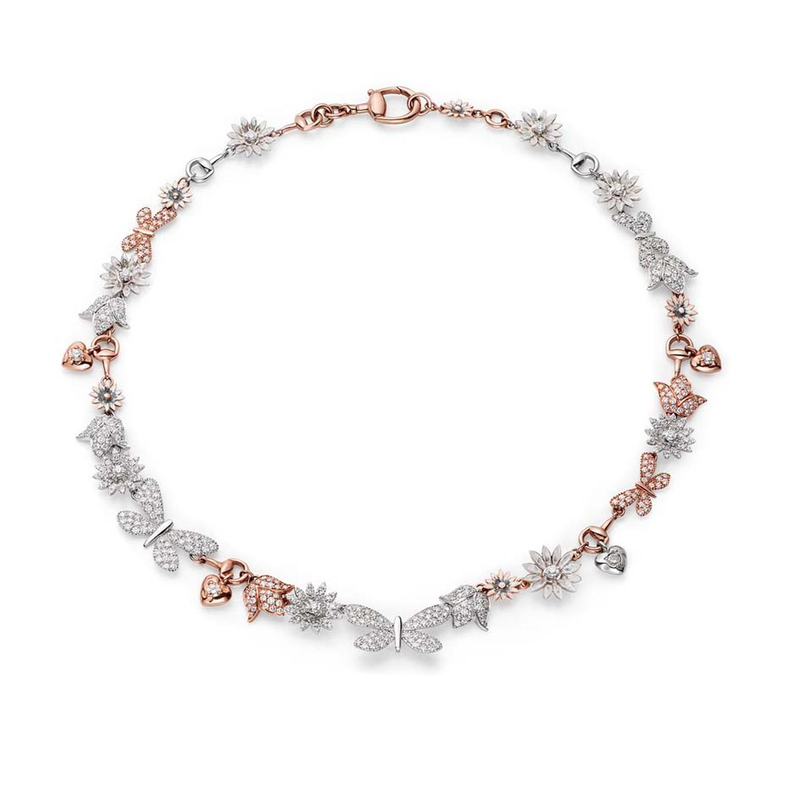 Limited-edition Gucci necklace from the new Flora collection, set with 512ct of diamonds shaped into flowers, butterflies and hearts on white and rose gold.