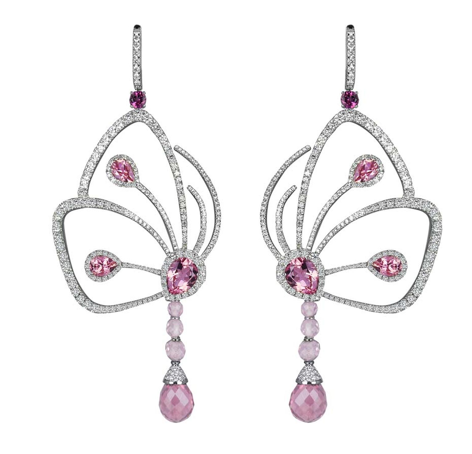 Jacob & Co. Butterfly earrings from the Papillon collection in white gold, set with pink tourmalines and diamonds.