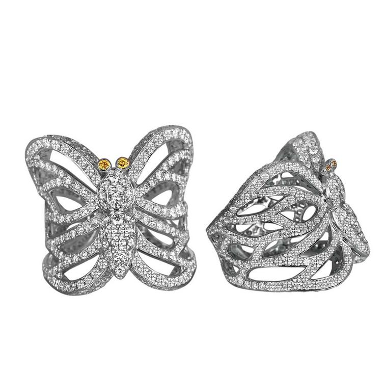 Jacob & Co. Papillon pavé diamond rings in white gold with yellow diamond antennae.