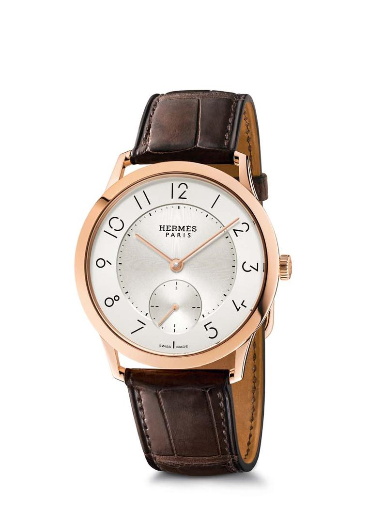 Slim d'Hermès watch in a 39.5mm rose gold case equipped with an ultra-thin automatic movement.