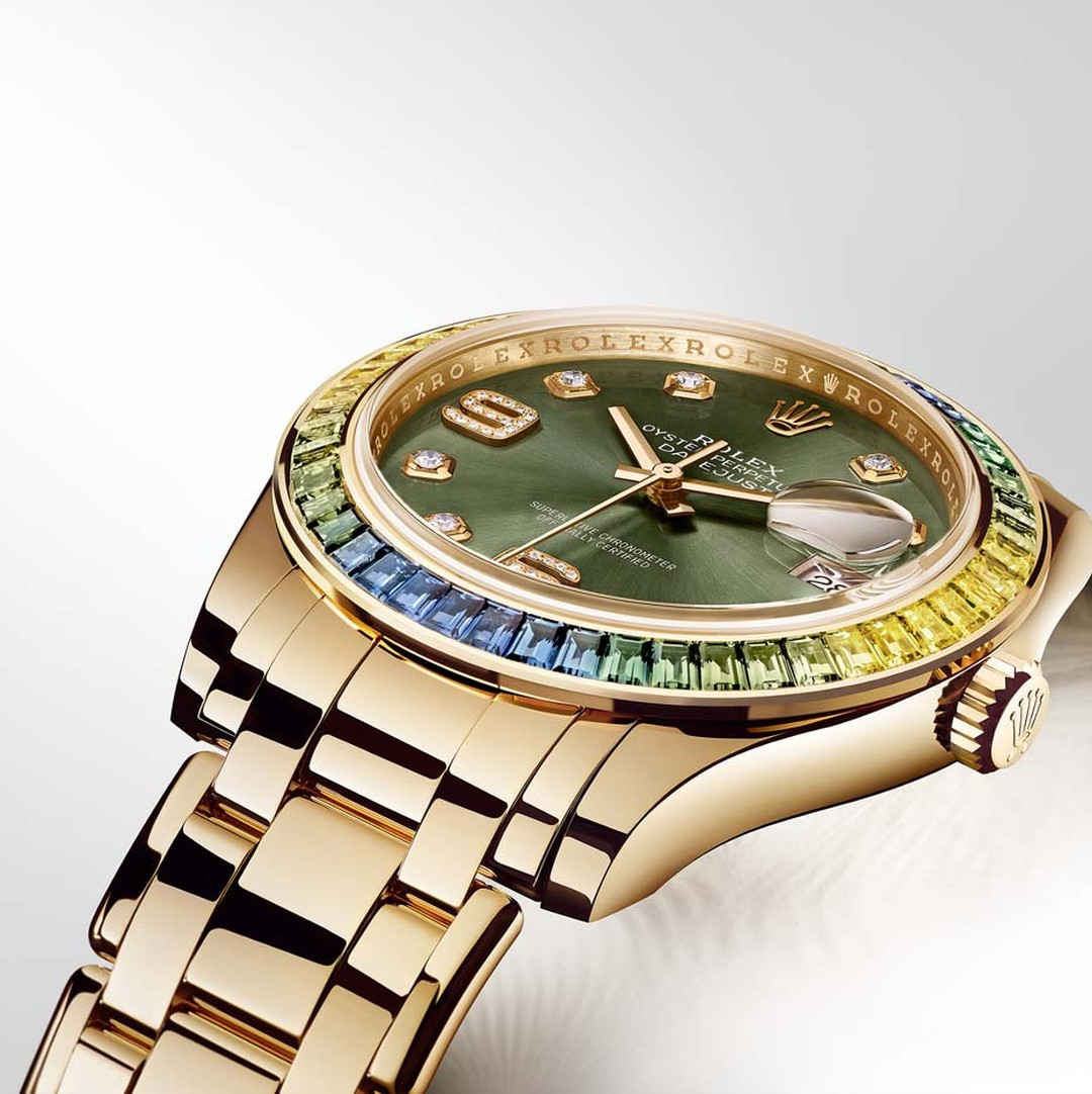The Rolex Pearlmaster watch has graduated from its original vocation as a 34mm high jewellery ladies' watch and is now presented in a 39mm case, occupying a new domain left ambiguously and deliberately open for both sexes, with dials and sapphire-set beze